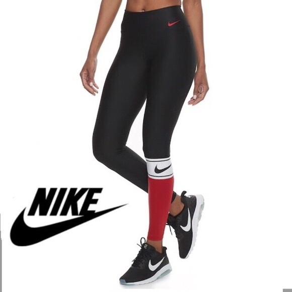 8815584c579c4 Nike Pants   Power Colorblock Tights Red Black White   Poshmark